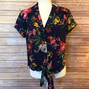 """""""Maeve"""" short sleeve floral top with waist tie"""